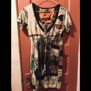 DESIGUAL Ladies Tunic Dress w/ Faux Buttons